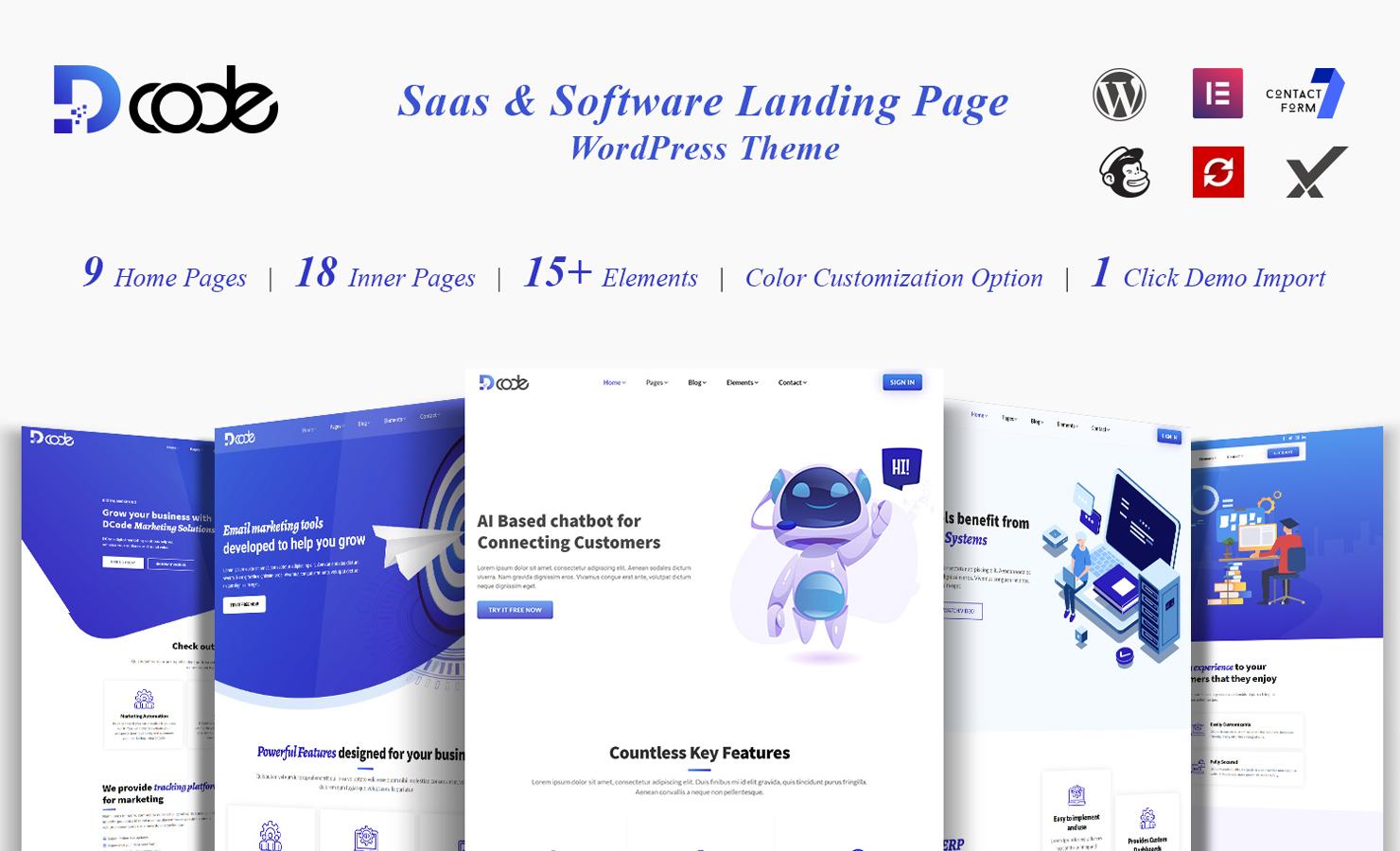 DCode SaaS and Software Landing Page WordPress Theme
